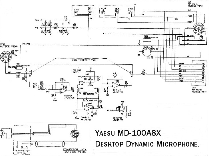 MD 100A8X Yaesu Dynamic Microphone Schematic Circuit yaesu Yaesu G-450A at creativeand.co